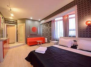 Двомісний номер Сірий з одним ліжком та гідромасажною ванною, верхній поверх, 1-кімнатна, 001