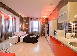 Двомісний номер Сірий з одним ліжком та гідромасажною ванною, верхній поверх, 1-кімнатна, 003