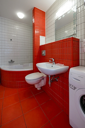 Red and White studio apartment with balcony and kitchenette, Studio, 009