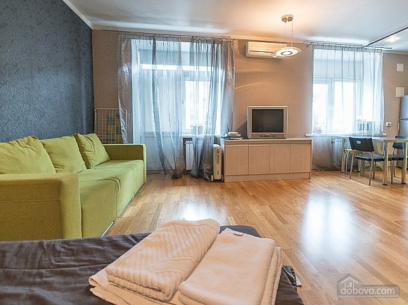 Green street view studio apartment with shower and balcony, Studio (24958), 001