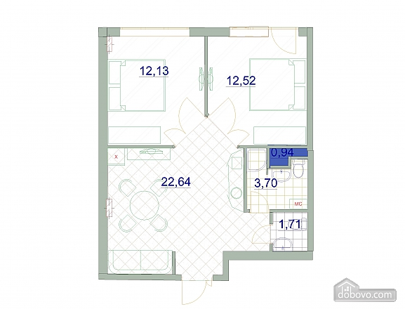 Квартира в Аркадии, 3х-комнатная (64572), 009