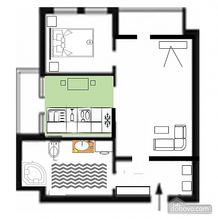 Apartment in the center in the new elite house, Zweizimmerwohnung (86825), 007