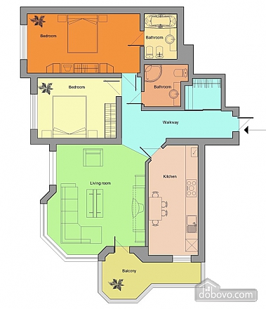 Apartment in the city center, Two Bedroom (20835), 008