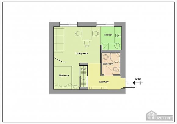 Квартира зі зручним плануванням, 1-кімнатна (77461), 009
