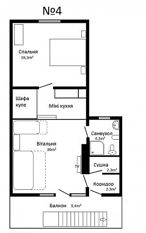 Chertyzh, Zweizimmerwohnung, 013