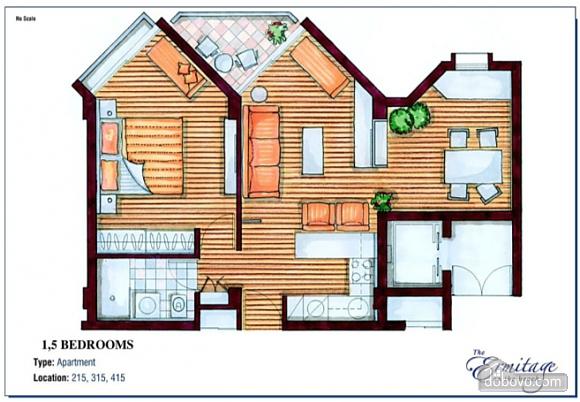 Покращені апартаменти з видом на сад з однією спальнею, 2-кімнатна (43961), 009