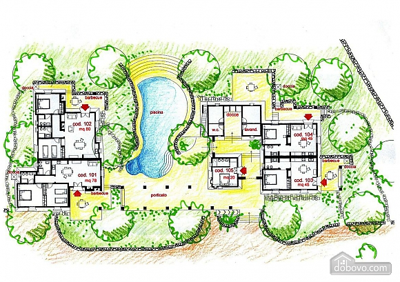 Вилла и бассейн внутри парка, 2х-комнатная (13875), 024