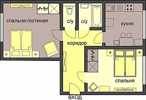 Cozy standard class apartment in Moscow, Zweizimmerwohnung, 002