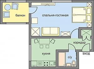 Wonderful business-class apartment on Kutuzovskiy avenue, Studio, 002