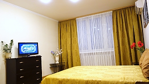 Квартира комфортная в золотисто-горчичных тонах, 1-комнатная, 002