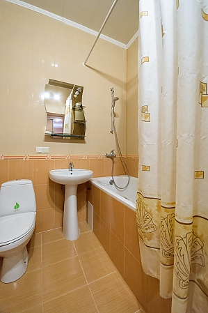Comfortable spacious one-bedroom apartment with kitchen and bathtub, One Bedroom, 009