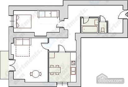 In the city center 5 persons, One Bedroom (62653), 011