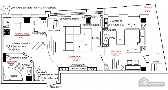 Суперлюкс апартаменты в центральном районе, 2х-комнатная (61495), 015